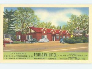 Unused Linen PENN-DAW MOTEL Alexandria Virginia VA B6751-12