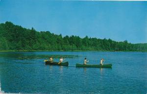 Boy Scouts Canoe on Lake Coan at Camp 12 Pines - Oswego County NY, New York