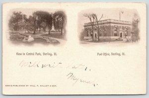 Sterling Illinois Vignettes~Central Park Pavilion~Monument~Post Office~1908 B&W