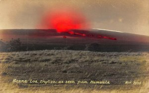 LP21 Mauna Loa Volcano Eruption Hawaii Postcard RPPC hand tinted
