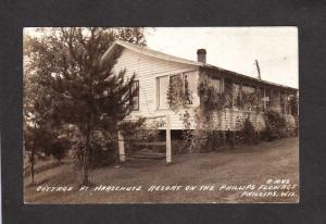 WI Cottage Harschutz Resort Phillips Flowage Wisconsin RPPC Real Photo Postcard