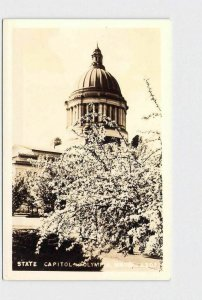 RPPC REAL PHOTO POSTCARD WASHINGTON OLYMPIA STATE CAPITOL TREE IN BLOOM