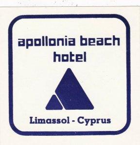 Cyprus Limassol Apollonia Beach Hotel Vintage Luggage Label sk2761