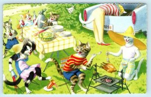 MAINZER DRESSED CATS & Kittens PICNIC BARBECUE  #4890 Anthropomorphic Postcard