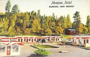 MONJEAU MOTEL Ruidoso, New Mexico Highway 70 Roadside ca 1940s Linen Postcard