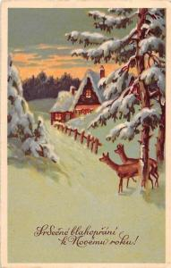 Srdecne blahoprani k Novemu roku! heartfelt New Year Greeting! deer 1940