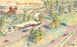 1969 Warrenton Motor Lodge birdseye Virginia artist impression Crayon Gravure
