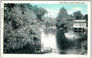 Siloam Springs, Arkansas Postcard LAKE SCENE Ladies in Row Boat Mill View 1937