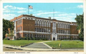 Shenandoah Iowa~Senior High School~Mailbox~1920s Postcard