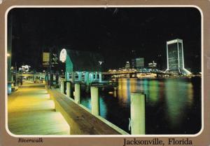 Florida Jacksonville Riverwalk At Night