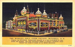 Mitchell SD Worlds Only Mitchell Corn Palace Linen Postcard