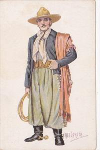 Brazil Gaucho Horseman Of Rio Grande Plains In Typical Dress