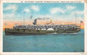 Cedar Point Ohio Put-in-Bay Steamer Goodtime Vintage Postcard JE228533