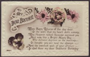 Brothers Birthday,Flowers Postcard