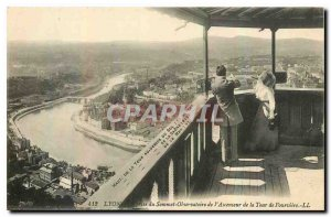 Old Postcard Lyon Observatory Summit taking view of the Lift Tower of Fourviere