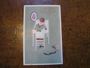 Fadeaway Postcard - Woman - Poem Gibson Art Company - Absence makes the heart..