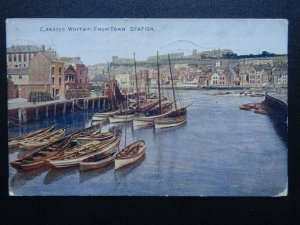 Yorkshire WHITBY from the Station shows ANGEL HOTEL VAULTS c1920s Postcard