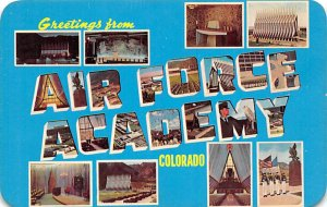 Large Letter Military Camp Post Card Greetigs from Air Force Academy, Colorad...