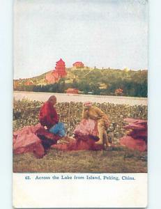 old card ACROSS LAKE FROM ISLAND Peking - Peping - Beijing China F4972@