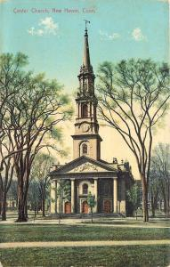 New Haven Connecticut~Center Church~1910 Postcard