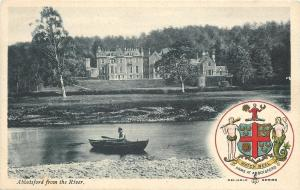 Abbotsford England~Castle From River~Coat of Arms~Watch Weel~1910 Postcard
