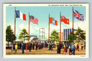 1939 New York World's Fair, An Information Booth Press Building Linen Postcard
