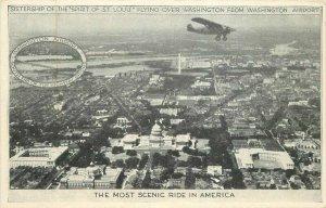 Aviation 1920s Washington Airport Washington DC Birdseye Postcard 9219
