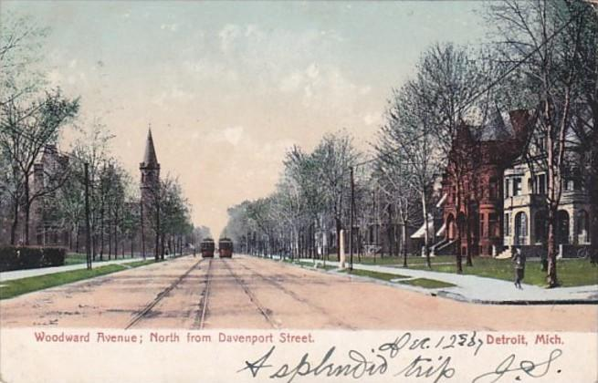 Michigan Detroit Woodward Avenue Looking North From Davenport Street 1907