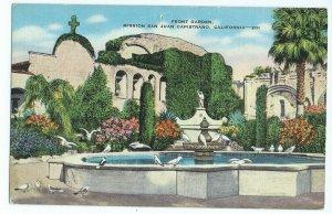 Postcard CA Garden Birds Flowers Mission San Juan Capistrano Kropp Hopkins VPC1.