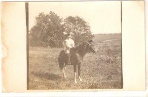 Lady on her horse Old vintage antique postcard
