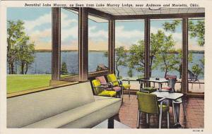 Beautiful Lake Murray, as seen from Lake Murray Lodge, near Ardmore and Marie...