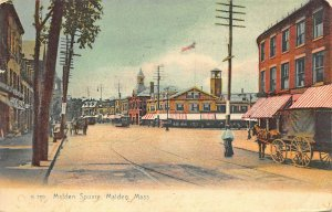 Malden MA Malden Square Storefronts Horse & Wagons 1909 Postcard