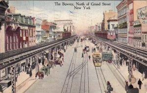 P1852 1917 busy postcard the bowery horse wagons trolly raised railroad etc N,Y