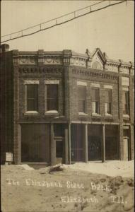 Elizabeth IL State Bank in Winter c1910 Real Photo Postcard