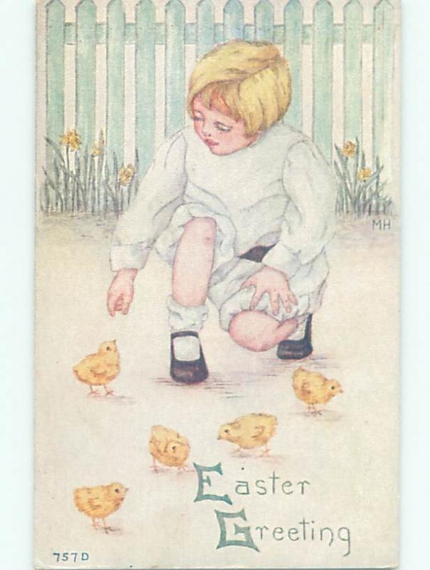 Pre-Linen easter signed CHILD REACHES DOWN TO PET CHICK W7365