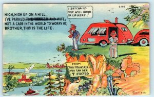 RAY WALTERS Trailer Comics SEE 7 STATES from this Mountain 1939 Linen Postcard