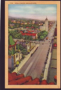 P1657 vintage unused postcard birds eye view hollywood blvd california