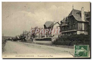 Old Postcard Deauville sur Mer Beach Walk
