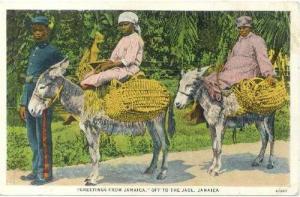 Policeman & women on donkeys, Jamaica, 1910s