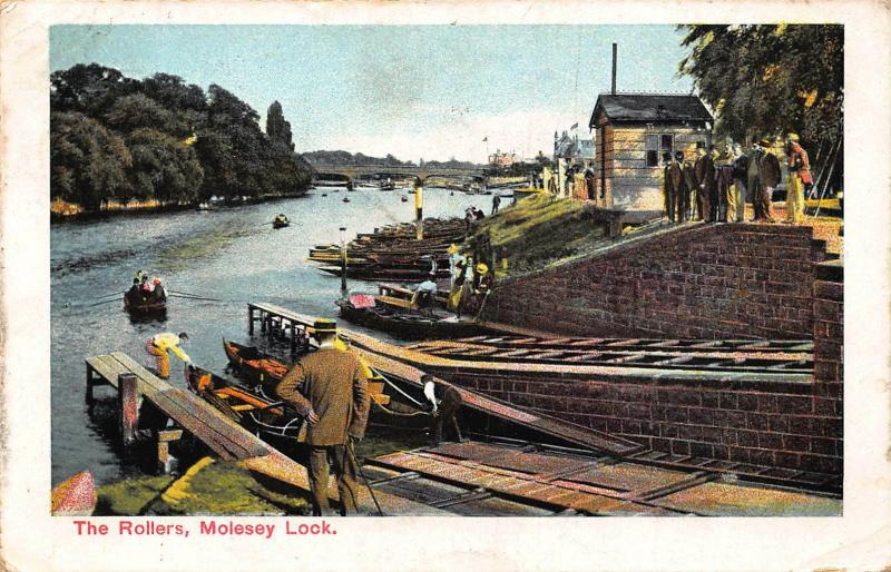 Molesey Lock The Rollers River Boats Bridge Postcard