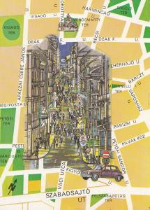 Vaci Street Hungary Megye Map Strasse Hungarian Postcard