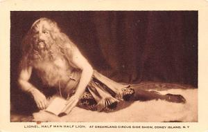 Circus Post Card, Old Vintage Antique Postcard Lionel Half Man Half Lion Drea...