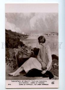 214917 BELLE Woman TERRIER Terrace by ABLETT Vintage SALON