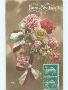tinted rppc c1910 BEAUTIFUL FLOWERS AC9002