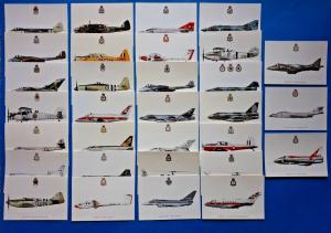 Set of 31 New Postcards Military RAF RN Aircraft Squadron Prints Profile Cards