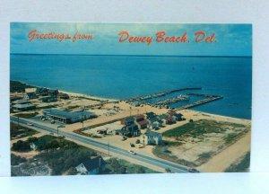 Dewey Beach DE Aerial View Looking Southwest Yacht Basin Rehoboth Bay Postcard