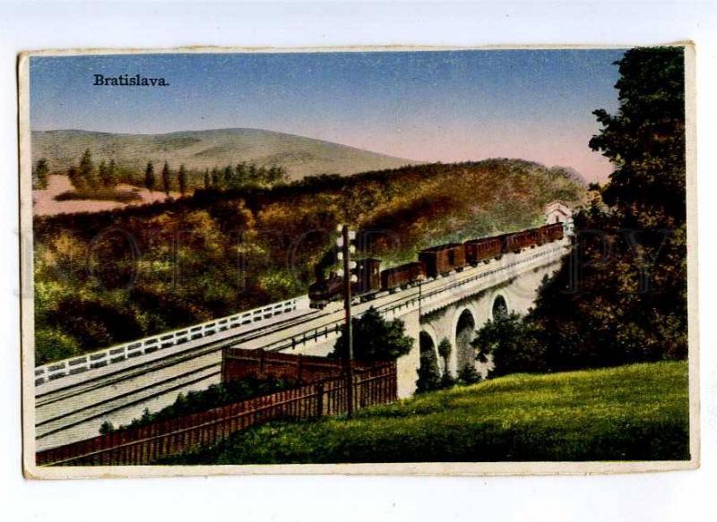 191272 Slovakia BRATISLAVA train on bridge Vintage postcard