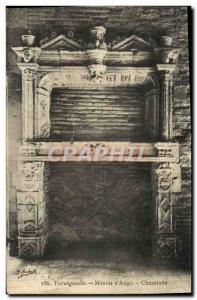 Postcard Varengeville Old Manor of Ango Fireplace