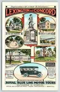 Boston~Royal Line Bus Tour~Paul Revere's Ride Route From Hotel Brunswick~1915 Ad