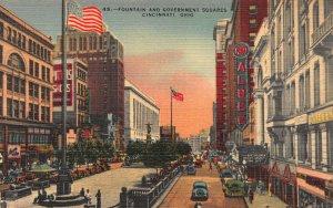 Fountain and Government Squares, Cincinnati, Ohio, early linen postcard, unused